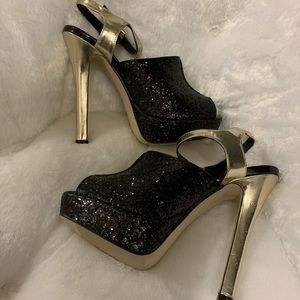 Black and Gold Madden Girl Party Heel